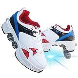 Pinkskattings@ Zapatillas con Ruedas 4 Rodillo Zapatos De Skate Zapatos Invisible De Polea De Zapatos Zapatillas De Deporte Luz Zapatos para Hombres Mujeres