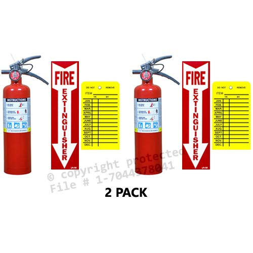 2-2 1/2 Lb. Buckeye Type ABC Dry Chemical Fire Extinguishers, with 2 - Vehicle Brackets 2 - Inspection Tags, and 2 - Signs