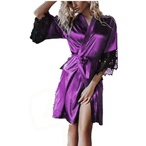 JERFER Lencería Mujer Seda Sexy Kimono Vestidos Encaje Babydoll Cinturón Bañera Bata de Dormir Type C