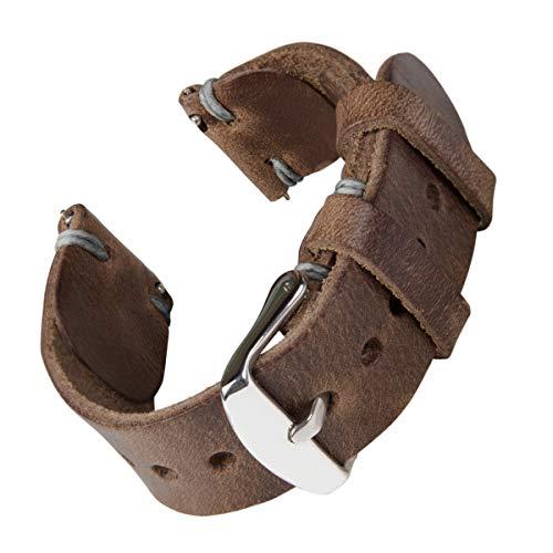 Archer Watch Straps - Cinturini Orologio da Polso a Sgancio Rapido, Band Ricambio in Pelle Lavorata a Mano Horween per Orologi e Smartwatch (Pelle Naturale/Intreccio Grigio, 20mm)