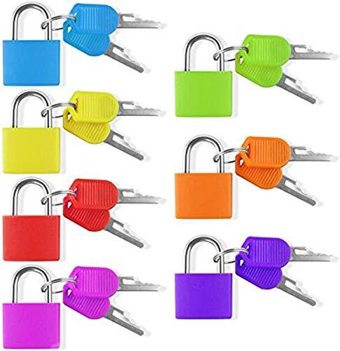 Puzzlos Set di 7 lucchetti con chiave colorata per valigie, piccolo set di serrature per bagagli e valigie, 7 colori