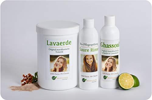 LT-NATURPRODUKTE Lavaerde/Ghassoul-Komplettpaket - für die chemiefreie Haar- & Körperpflege: 1kg Wascherde/Tonpulver, 250ml Tonerde-Fertigmischung, 250ml Rinse im Geschenkpaket/Wellness Pflegeset