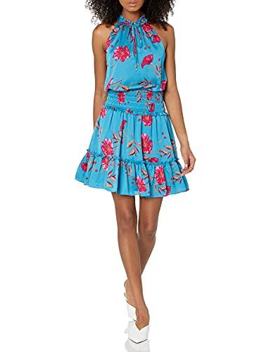 BCBGMAXAZRIA Women's Printed Short Evening Dress, Montego Bay, Medium