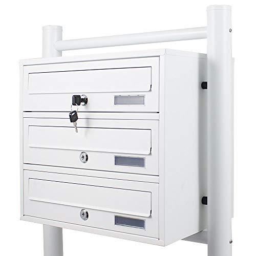 BITUXX® Stand-Briefkastenanlage Postkasten Letterbox Mailbox mit 3 Fächer Weiß