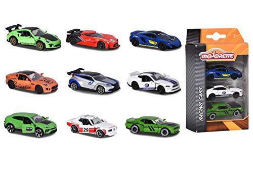 Majorette - 208402 00 Veicolo in miniatura, Confezione 3 auto da corsa,modelli assortiti