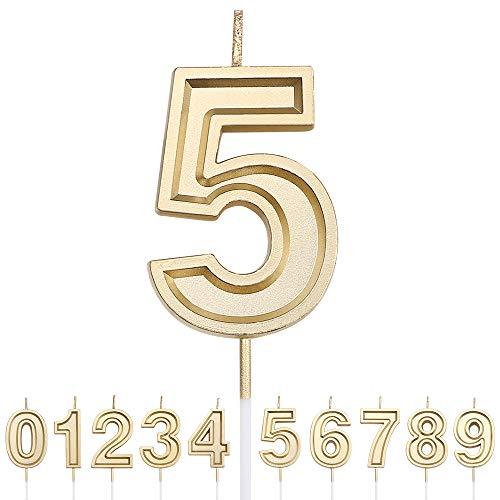URAQT Geburtstag Zahl Kerzen, Gold Glitzer Geburtstagskerzen, Dekorative Geburtstagstorte, Hochzeitsparty, Abschlussfeier Usw 5.