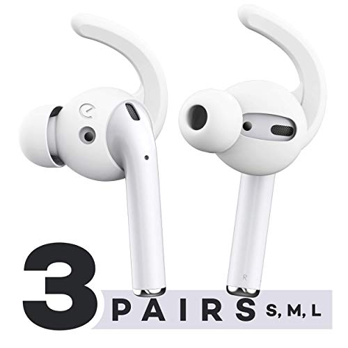EarBuddyz Ultra Ear Hooks and Covers Compatible with Apple AirPods 1 & AirPods 2 or EarPods Featuring Bass Enhancement Technology (Small Medium Large Pairs, White)