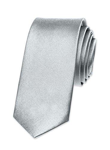 Autiga Autiga Krawatte Herren Hochzeit Konfirmation Slim Tie Retro Business Schlips schmal, Silber, unisize