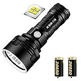 Linterna recargable USB, 30000-100000 lúmenes Lámpara de luz de flash LED impermeable de alta potencia Ultra brillante, pantalla portátil Linterna de batería (Batería P70 2500mAh / 2 baterías)