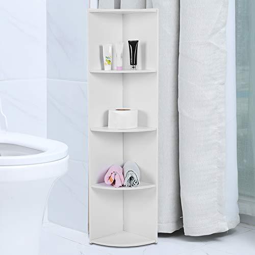 Armario alto para baño, gabinete de columna, gabinete de esquina para baño, cocina, estantería vertical, estantería de 4 niveles, color...