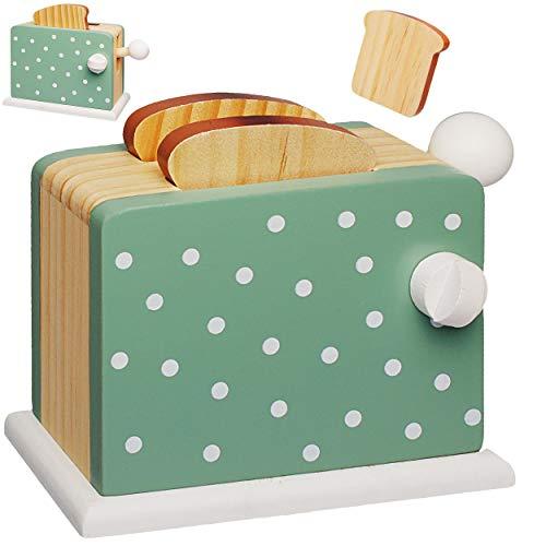 alles-meine.de GmbH Spielzeug Toaster mit 2 Toastscheiben - aus Holz - beweglich & wirklich funktionierend - Pop up - Spiel Küche - Zubehör Deko - Kinderküche - Weißbrotscheiben ..