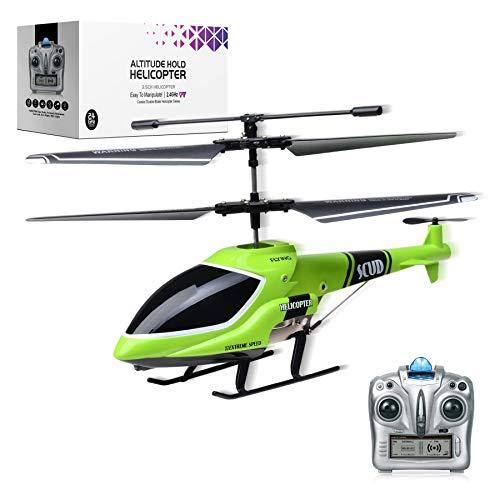 MKZDGM Elicottero radiocomandato con giroscopio e luci LED da 2,4 G, 3,5 canali, altezza fissa elicottero/atterraggio, per interni ed esterni, per bambini e adulti