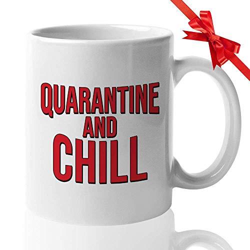 N\A Quarantäne Kaffeetasse - Quarantäne und Chill - Film lustige Überlebende soziale Distanzierung Quarantäne Immun Panik Panikattacke schützen für Männer Frauen
