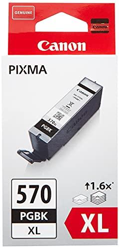 Canon PGI-570XL Cartucho de tinta BK para Impresora de Inyeccion Pixma TS5050,5055,5053,5051,6050,6052,6051,8050,8053,8052,8051,9055,9050-MG5750,5751,5752,5753,6850,6851,6852,6853,7750,7751,7752,7753