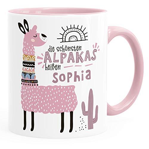 SpecialMe®Kaffeetasse Spruch Die schönsten Alpakas heißen eigener Name personalisierte Namenstasse iLama ndividuelle Namensgeschenke inner-rosa Keramik-Tasse
