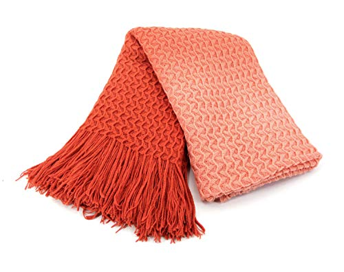 Xmas Decoration Super Soft Knit Throw Blanket Coral for Sofa Couch Chair Bed, Summer Lightweight Travel Blanket Nap Throw, Cashmere-like Soft and Cozy, Delicate Weave Pattern with Fringe, 50'x60'