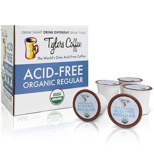 Tyler's Coffee No Acid Coffee Pods – 16 Pods of Caffeinated Coffee Beans – Natural Acid Free Coffee Made With 100% Arabica Beans – Natural and Organic Blend for Common GI Issues