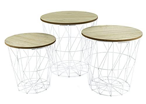 Mesa auxiliar de metal con espacio de almacenamiento blanco/placas claras, juego de 3, mesa de salón con tablero de madera extraíble, cesta de metal, mesa de café