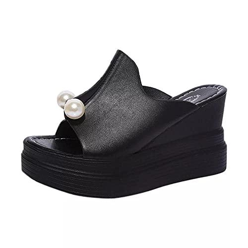 ypyrhh Chanclas Mujer Verano,Pendiente Inferior Gruesa con Zapatillas de Boca de Pescado,Pastel de esputo Ocio Cremallera-Negro_37,Zapatos de Playa y Piscina