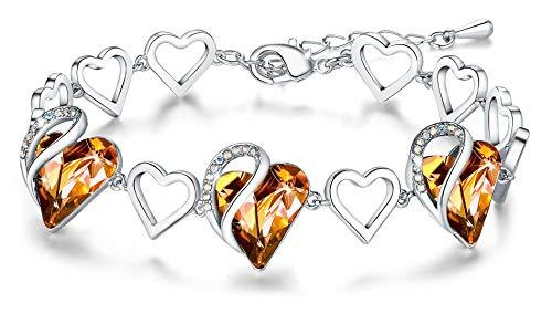 Leafael Mujer'Cristales del infinito amor del corazón pulsera hechos con Swarovski ámbar Brown noviembre Birthstone regalos de la joyería, en tono plateado, 7' +2'