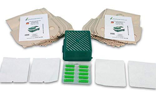 Paquete económico adecuado para Vorwerk Tiger 251, 252 con sistema de filtro activo, filtro de carbón activado, 2 filtros de aire de escape, 2 filtros de protección del motor, 16 bolsas de aspiradora
