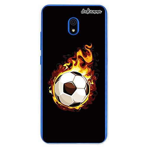 dakanna Funda Compatible con [Xiaomi Redmi 8A] de Silicona Flexible, Dibujo Diseño [Balón de Fútbol en Llamas], Color [Borde Transparente]...