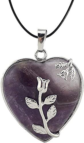Yiffshunl Collar Collares para Mujer Collares en Forma de corazón en Piedra Natural Flores de Amatista Flores Vintage con Adornos de Cadena Regalos de Cuero