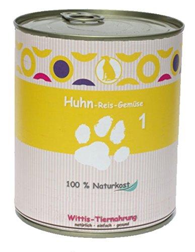 6 x 800 g - Wittis Sensitiv-Fleischgerichte für Hunde - garantiert OHNE künstliche Vitamine!!- Huhn - Reis - Gemüse - Dosenfutter ohne Zusätze