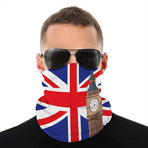fgdhfgjhdgf Covers Mask Protection from Wind Cold Big Ben with United Kingdom Flag Background Fleece Cover Mask