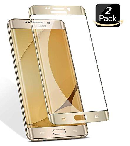 Novago [2 Pack] Compatibile con Samsung S6 Edge Plus (S6 Edge +) Pellicola Proteggi Schermo in Vetro temperato (d'oro)
