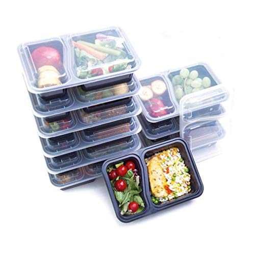 (14 Pack) High Quality 1, 2 or 3 Compartment Meal Prep Containers - with Sauce/Dressing Tubs - Food Boxes, Portion Control, Lunch Box (2 Compartment)