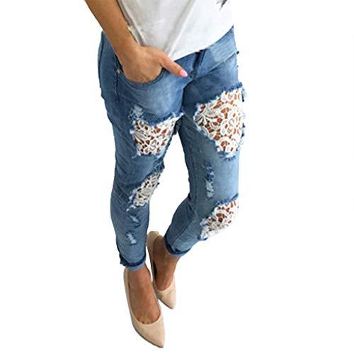 Ansenesna Jeans Damen Mit Löchern Spitze Elegant Hose Frauen Ripped Vintage Denim Hose
