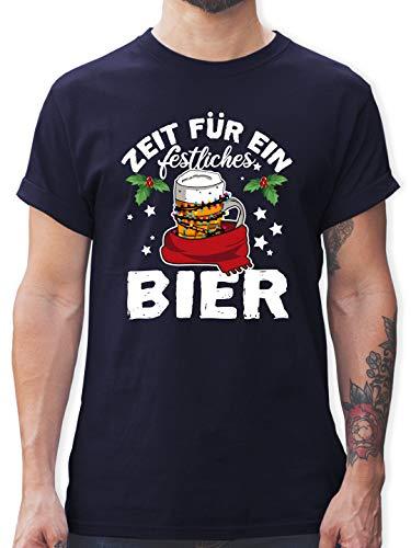 Weihnachten & Silvester - Zeit für EIN festliches Bier - weiß - M - Navy Blau - Geschenk - L190 - Tshirt Herren und Männer T-Shirts