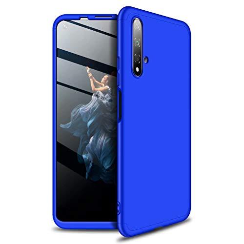 MISSDU kompatibel mit Premium Hart PC 360 Grad Hülle Huawei Honor 20 + Panzerglas,3 in1 Handytasche Handyhülle Schutzhülle Cover - Rot