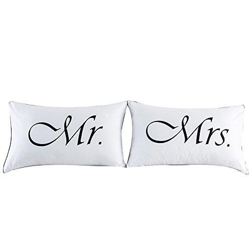 TONSEE 2 Paare Couples Kissenbezüge Romantische Abdeckungen (Mr&Mrs)