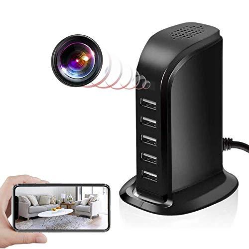 GEQWE Cámaras con Cargador USB, Cámara De Vigilancia Doméstica Espía Inalámbrica WiFi 1080P HD con Mini Video Oculto Invisible Cargador De Pared USB Inalámbrico Detección De Movimiento