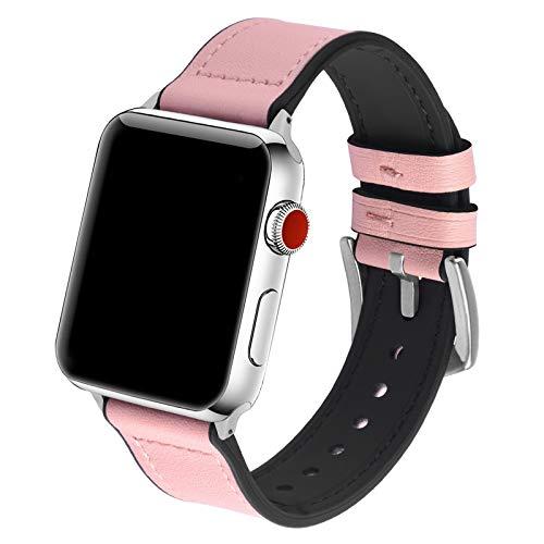 GerbGorb Cinturino in Pelle e Silicone Compatibile con Apple Watch 38mm/40mm, Cinturini per Apple Watch Serie SE 6 5 4 3 2 1, Rosa 38mm/40mm