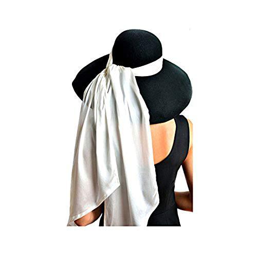 Utopiat Schwarze High-End-Wollmütze mit weißem Seidenschal, inspiriert von Audrey Hepburn