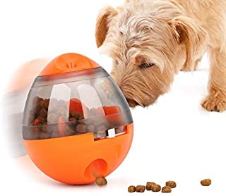Pawaboo Dog Treat Toys, Interactive Dog Treat Dispenser Ball Dog Chew Ball Slow Feeder Pet Food Treat Ball, Bite Resistant Funny Tumbler Style IQ Training Ball Toy for Small Dogs Cats, Orange