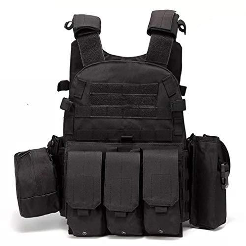 Hanyaqi Veste de combat tactique multifonctionnelle pour extérieur et entraînement militaire Noir