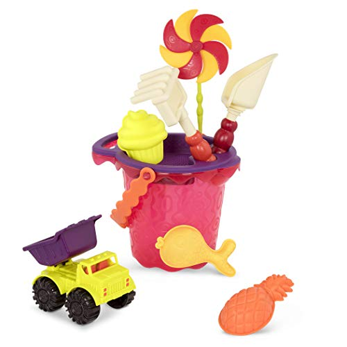 B Toys – Sands Ahoy – Beach Playset  Medium Bucket Set Mango with 9 Unique Sand amp Water Toys –Phthalate Free – 18 m