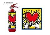 Estintore design regalo per casa nuova camper o per inaugurazione negozio linea Love, designer Manghisi colore rosso con estinguente a polvere da kg 1 con classe di fuoco abc