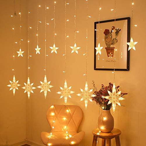TOSLEJF 2.5M LED North Star Cortina Luz Guirnalda de Navidad Cadena de luces de hadas al aire libre para ventana Decoracin de Ao Nuevo (Color : Warm white)