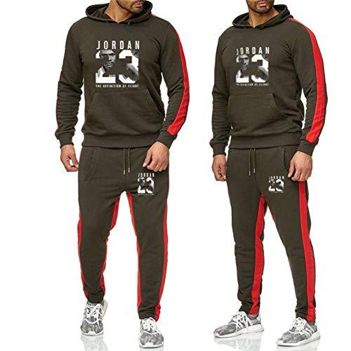 Jordan 23# - Conjunto de chándal para hombre, sudadera con capucha, pantalones de baloncesto, ropa casual, delgada, manga larga, sudaderas con capucha, ropa deportiva adecuada para hombres gris oscuro