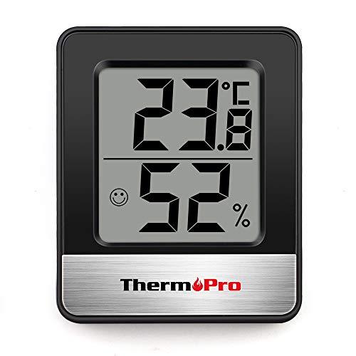 ThermoPro TP49 digitales Mini Thermo-Hygrometer Innen Thermometer Hygrometer Temperatur und Luftfeuchtigkeitmessgerät mit Raumklima-Indikator für Raumklimakontrolle, Schwarz