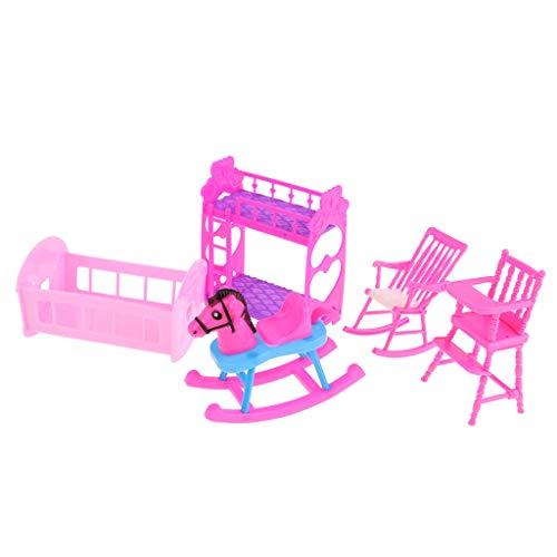 D DOLITY Casa de muñecas, muebles de plástico, en miniatura, sofá, TV, lámpara de mesa, cama, litera, silla de comedor, mecedora, ropero, casa de muñecas, accesorios, B - 5 unidades