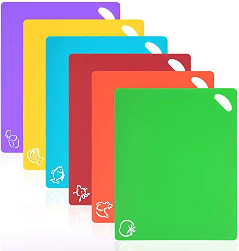 Vicloon Tablas de Cortar de Plástico, Juego de 6 Tablas de