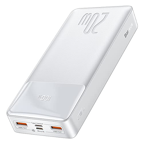 Baseus Batería Externa, Power Bank 20000Mah Cargador Portátil iPhone PD 20W de Carga Rápida Pantalla LED con 2 Entradas & 3 Salidas para iPhone Samsung Galaxy Huawei (Blanco)