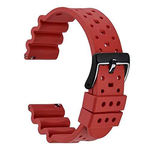 WOCCI 22mm Ventilado Correa de Reloj para Hombres, Silicona de Caucho Fluorado, Hebilla Negra Pulida (Rojo)