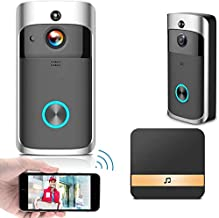 V5 WiFi- en draadloze videodeurbel met slimme PIR-bewegingsmelder, nachtzicht, brede hoek, realtime melding, tweeweg talk ...